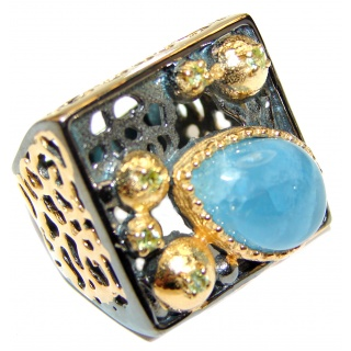 Vinatge Design Aquamarine 18K Gold over .925 Sterling Silver handmade ring s. 7 1/4