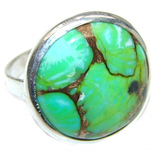 Copper Turquoise .925 Sterling Silver ring; s. 7