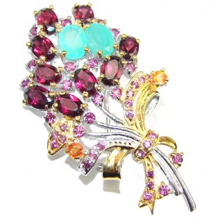 Summer Bouquet genuine Garnet Gold over .925 Sterling Silver handmade Pendant - Brooch