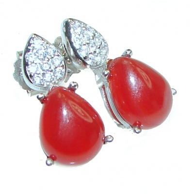 Cute Authentic Carnelian .925 Sterling Silver handmade earrings