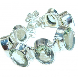 Huge Green Amethyst .925 Sterling Silver handcrafted Bracelet