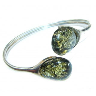 Gorgeous quality Green Polish Amber .925 Sterling Silver handcrafted Bracelet