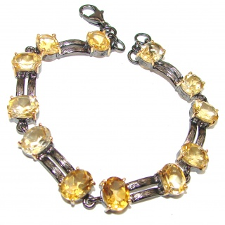 Stunning genuine Citrine black rhodium over .925 Sterling Silver handmade Bracelet
