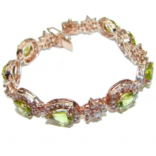 Genuine Peridot 14K Gold over .925 Sterling Silver handmade Bracelet