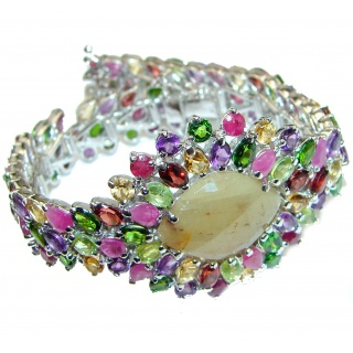 One of the kind yellow Sapphire .925 Sterling Silver handmade bangle Bracelet