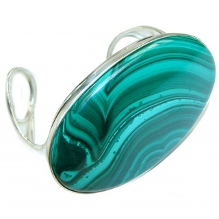 Eternal Paradise 78.9 grams Natural Malachite highly polished .925 Sterling Silver handcrafted Bracelet / Cuff