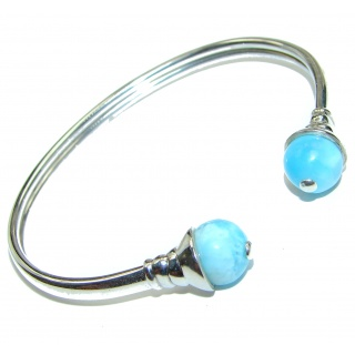 Sublime Beauty of Nature Blue Larimar .925 Sterling Silver handcrafted Hinged Bracelet