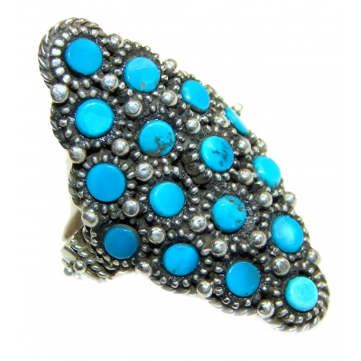 Natural Turquoise .925 Sterling Silver handmade ring s. 8