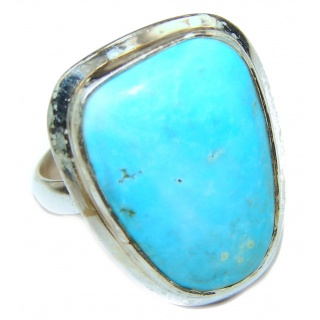 Large Turquoise .925 Sterling Silver ring; s. 9
