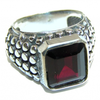 Large Genuine Garnet .925 Sterling Silver handcrafted Statement Ring size 8 1/4