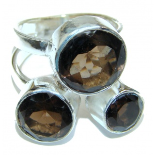 Authentic Smoky Quartz .925 Sterling Silver handcrafted ring s. 8