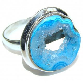Huge Exotic Druzy Agate Sterling Silver Ring s. 10 3/4
