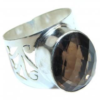 Authentic Smoky Quartz .925 Sterling Silver handcrafted ring s. 9 1/2