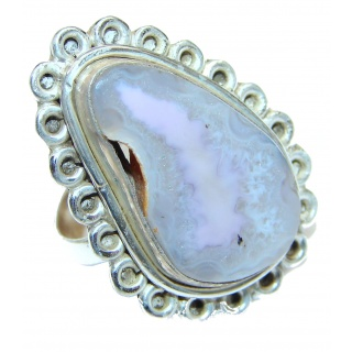 Huge Exotic Druzy Agate Sterling Silver Ring s. 8 3/4