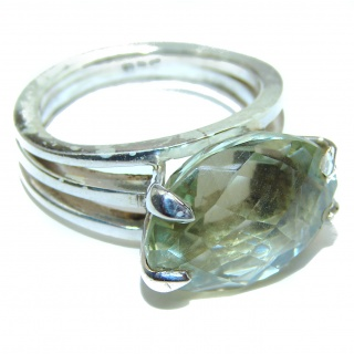 Spectacular Natural Green Amethyst .925 Sterling Silver handcrafted ring size 6 3/4