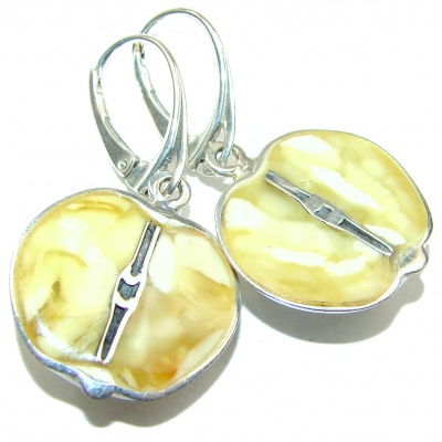 Two halves of an apple Butterscotch Polish Amber .925 Sterling Silver handmade Earrings