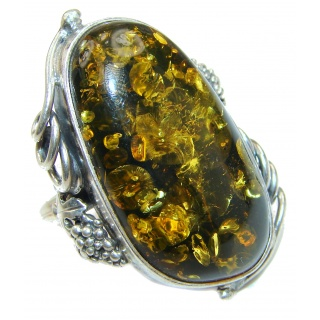 Vintage Design Baltic Amber .925 Sterling Silver handcrafted Ring s. 8 3/4