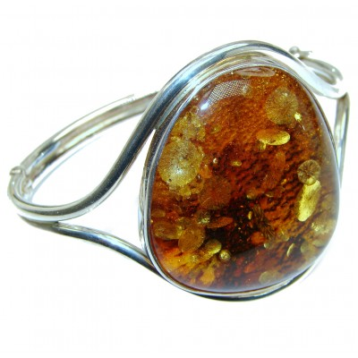 Vintage Design Genuine Polish Amber .925 Sterling Silver handamde LARGE Bracelet