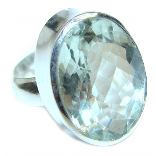 Chunky Green Amethyst .925 Sterling Silver handcrafted ring