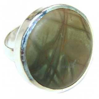 Huge Picasso Jasper .925 Sterling Silver handcrafted ring s. 10