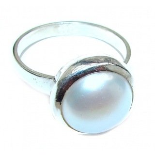 Pearl .925 Sterling Silver handmade ring size 11