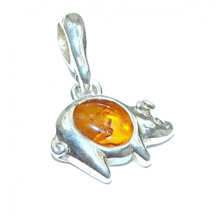 Lucky Pig Polish Amber Sterling Silver Pendant