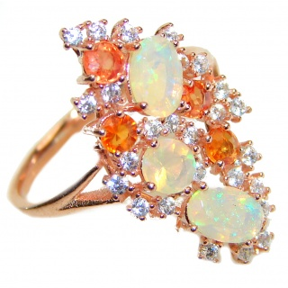 Dazzling natural Ethiopian Opal Rose Gold over .925 Sterling Silver handcrafted ring size 7 1/4