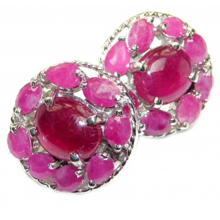 Authentic 39ctw Kashmir Ruby .925 Sterling Silver handmade earrings