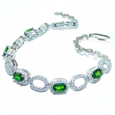 Authentic Chrome Diopside .925 Sterling Silver handcrafted Bracelet