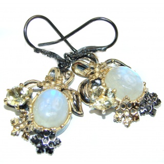Large Incredible Authentic Moonstone 2 tones .925 Sterling Silver handmade earrings