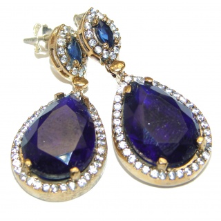 Victorian Style created Sapphire Sterling Silver stud handcrafted earrings