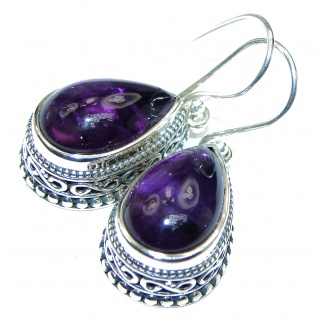 Purple African Amethyst .925 Sterling Silver handmade Earrings