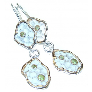 Rich Design Peridot .925 Sterling Silver in Antique White Patina handcrafted earrings