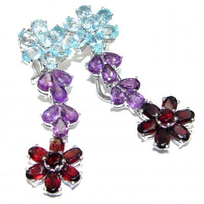 Huge Posh Authentic Multigem .925 Sterling Silver handmade earrings