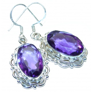 Purple L Amethyst .925 Sterling Silver handmade Earrings