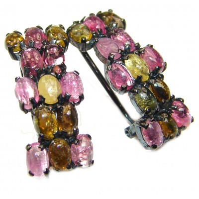 Authentic Watermelon Tourmaline black rhodium over .925 Sterling Silver handmade earrings