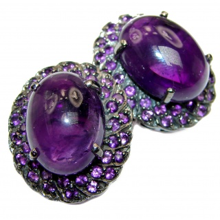 Authentic Amethyst black rhodium over .925 Sterling Silver handmade LARGE earrings