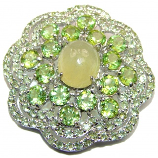 Royal quality genuine Peridot Prehnite rhodium plated .925 Sterling Silver handcrafted Pendant