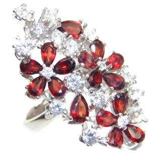 Large Natural Garnet .925 Sterling Silver Statement ring size 8 1/4