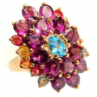 Dazzling natural Red Garnet & 14ct Gold over .925 Sterling Silver handcrafted ring size 8 1/2