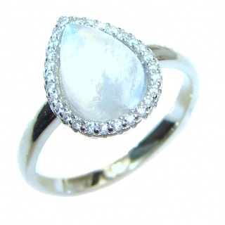 Rainbow Moonstone .925 Sterling Silver handmade Ring size 6 1/4