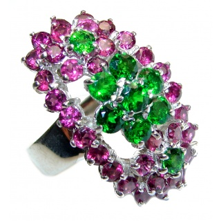 Large Genuine Chrome Diopside .925 Sterling Silver handcrafted Statement Ring size 8