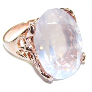Oval Cut 45ctw best quality Rose Quartz 14K Gold over .925 Sterling Silver brilliantly handcrafted ring s. 7 3/4
