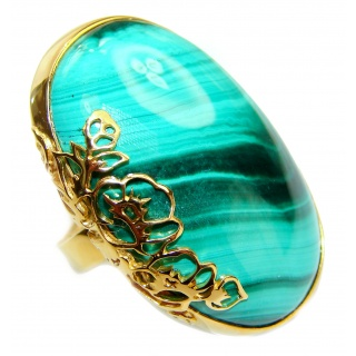 Natural Sublime quality Malachite 14K Gold over .925 Sterling Silver handcrafted ring size 8 adjustable