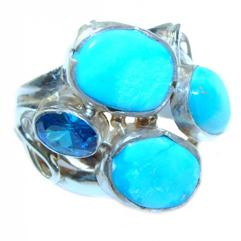 Natural Sleeping Beauty Turquoise .925 Sterling Silver handcrafted Ring s. 8