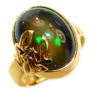 Vintage Design 18ctw Genuine Black Opal 24K Gold over .925 Sterling Silver handmade Ring size 7 adjustable