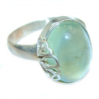 Natural Moss Prehnite .925 Sterling Silver handmade ring s. 7 3/4