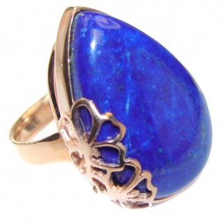 Natural Lapis Lazuli 14K Gold over .925 Sterling Silver handcrafted ring size 7 adjustable