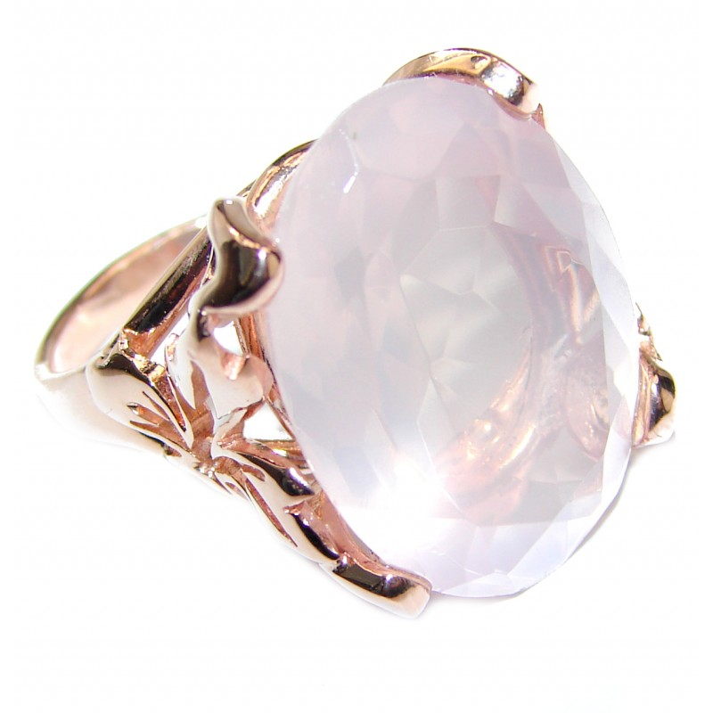 Oval Cut 45ctw best quality Rose Quartz 14K Gold over .925 Sterling Silver brilliantly handcrafted ring s. 7