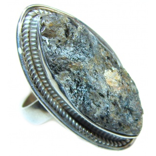 Huge Exotic Druzy Agate Sterling Silver Ring s. 6